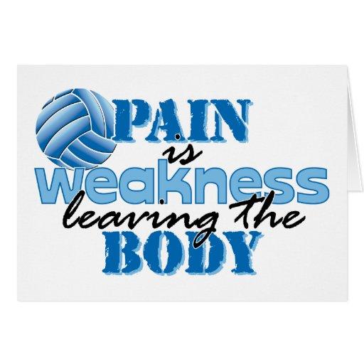 El dolor es debilidad que sale del cuerpo - voleib tarjeta de felicitación
