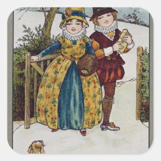 El domingo por la mañana, tarjeta del Victorian Pegatina Cuadrada