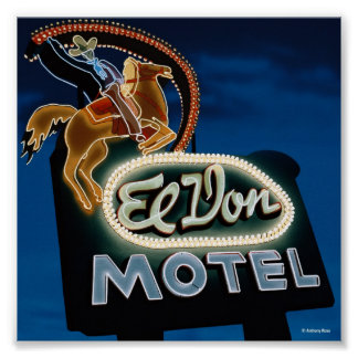 El Don Motel Night on Route 66 Poster