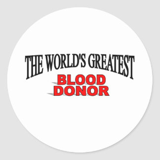El donante de la sangre más grande del mundo pegatinas redondas