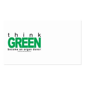El donante de órganos PIENSA verde Tarjetas De Visita