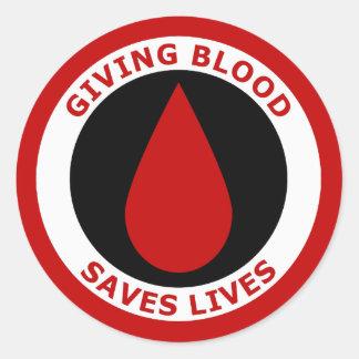 El donante de sangre ahorra vidas pegatina redonda