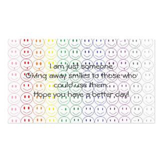 El donante lejos sonríe tarjeta de visita personal