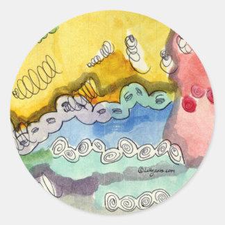 El Doodle abstracto de Steve Pegatina Redonda