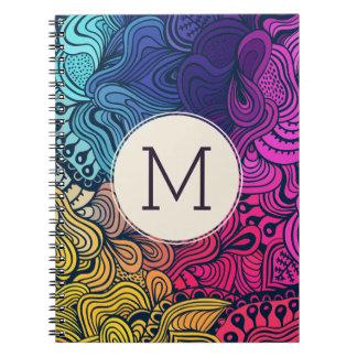El Doodle colorido remolina cuaderno del monograma