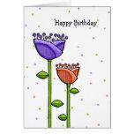El Doodle de la diversión florece cumpleaños púrpu Felicitación