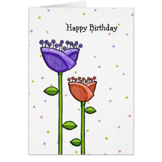 El Doodle de la diversión florece cumpleaños Tarjeta De Felicitación