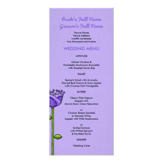 El Doodle de la diversión florece el menú anaranja Invitacion Personal