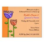 El Doodle de la diversión florece ensayo púrpura Invitaciones Personales