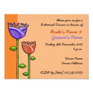 El Doodle de la diversión florece ensayo púrpura Invitación 10,8 X 13,9 Cm