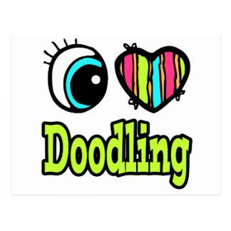 El Doodling brillante del amor del corazón I del o Tarjetas Postales