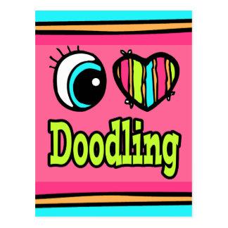 El Doodling brillante del amor del corazón I del o Tarjeta Postal