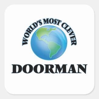 El Doorman más listo del mundo Calcomanía Cuadradas Personalizadas