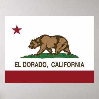 EL Dorado de la bandera de la república de Califor Posters