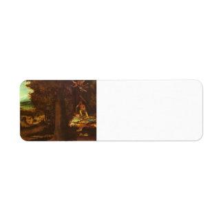 El dormir Apolo, musas y Fama de Lorenzo Lotto Etiquetas De Remite