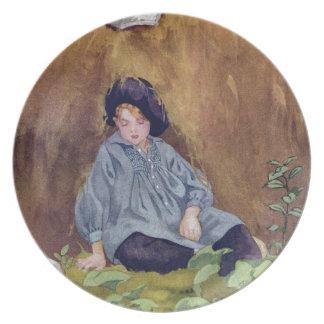 El dormir azul de Little Boy debajo del Haycock Platos De Comidas