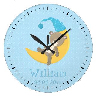 El dormir azul del oso del bebé en la luna II Reloj Redondo Grande