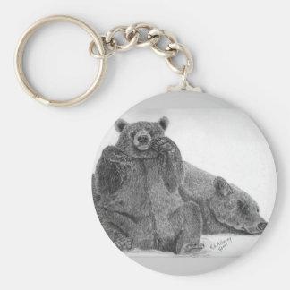el dormir de la mamá del oso grizzly llavero redondo tipo pin