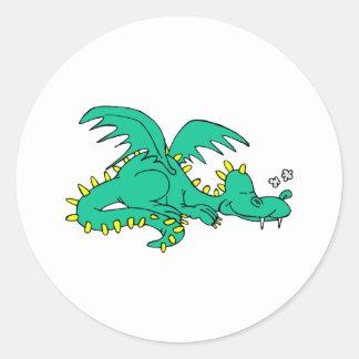 El dormir del dragón pegatinas redondas