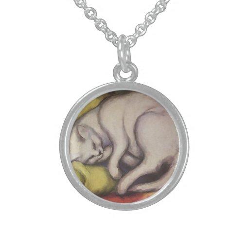 El dormir del gato del vintage collar de plata esterlina