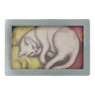 El dormir del gato del vintage hebilla de cinturón rectangular