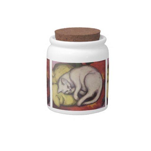 El dormir del gato del vintage jarra para caramelo