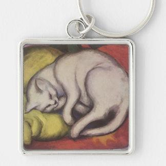 El dormir del gato del vintage llavero cuadrado plateado