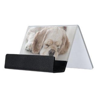 El dormir del perro de cocker spaniel caja de tarjetas de visita para escritorio