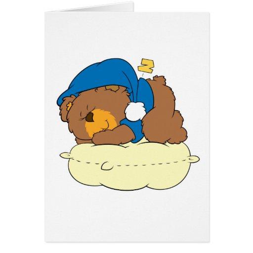 el dormir en diseño lindo del oso de peluche de la tarjetón