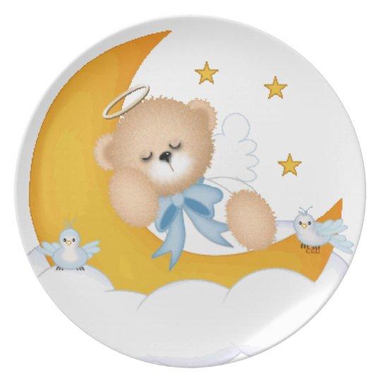 El dormir en la placa de la luna plato de cena