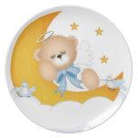 El dormir en la placa de la luna plato para fiesta