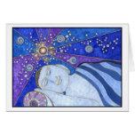 El dormir en tarjeta de la paz y de la luz