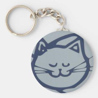 El dormir feliz azul del gato llavero redondo tipo pin