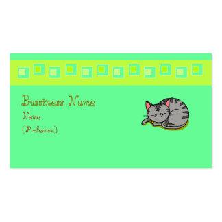 El dormir gris lindo del gato tarjetas de visita