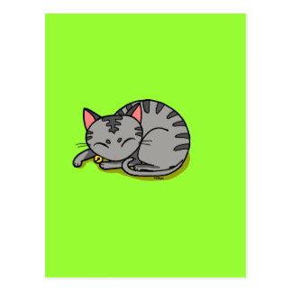 El dormir gris lindo del gato postal