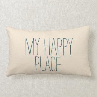 El dormir lindo azul y beige de mi lugar feliz cojín
