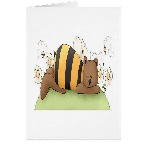 El dormir manosea el oso tarjeta de felicitación