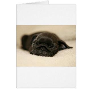 El dormir negro del perrito del barro amasado tarjeta de felicitación