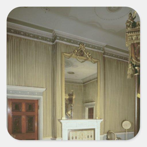 El dormitorio con la chimenea diseñó por Adán, Pegatina Cuadrada