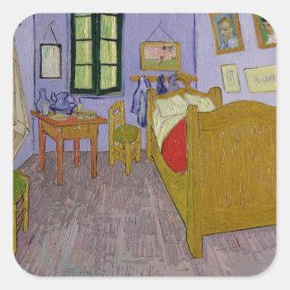 El dormitorio de Van Gogh en Arles, 1889 Pegatina Cuadrada