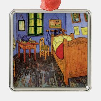 El dormitorio de Vincent en Arles de Vincent van Adorno Navideño Cuadrado De Metal