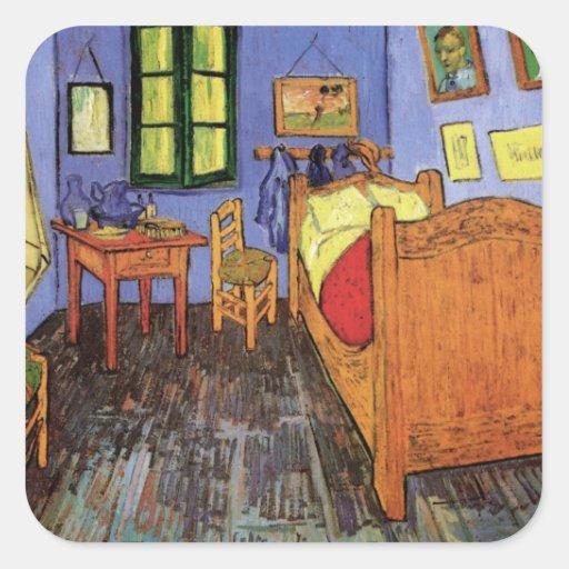 El dormitorio de Vincent en Arles de Vincent van Pegatinas Cuadradases