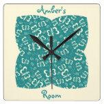 El dormitorio del chica azul y poner crema de la m relojes de pared