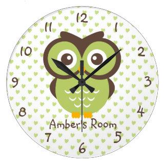 El dormitorio del chica personalizado búho verde reloj redondo grande