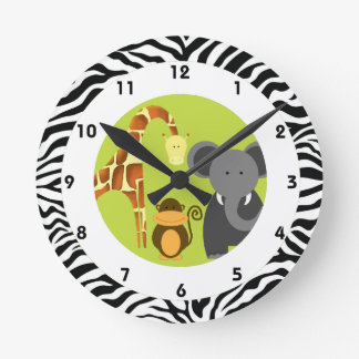 El dormitorio temático del niño de la selva reloj