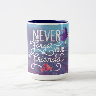 El Dory y Nemo el | nunca olvidan a sus amigos Taza De Café De Dos Colores