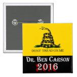 El Dr. Ben Carson 2016 - no pise en mí Pin Cuadrada 5 Cm
