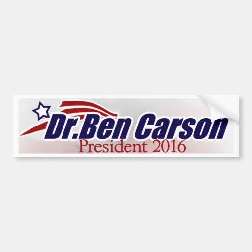 El Dr. Ben Carson para el presidente pegatina para Etiqueta De Parachoque