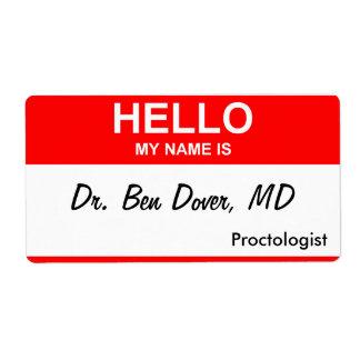El Dr. Ben Dover, MD Etiquetas De Envío