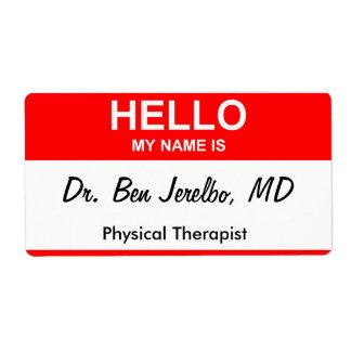 El Dr. Ben Jerelbo, MD Etiquetas De Envío
